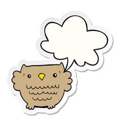 Cartoon owl and speech bubble sticker vector
