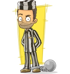 Cartoon prisoner in black and white vector image