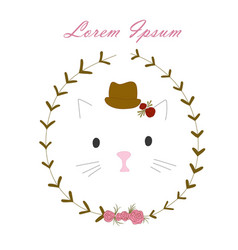 cat in a hat with flowers vector image