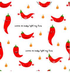 chili emoji seamless pattern with handwritten vector image