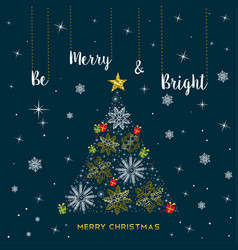 christmas gold snowflake tree greeting card vector image