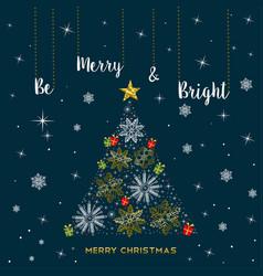 Christmas gold snowflake tree greeting card vector