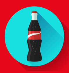 cola bottle soda bottle with red lable flat vector image