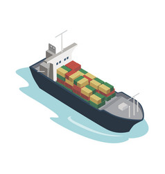 Container ship isometric 3d element vector