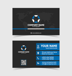 corporate business card print template with world vector image