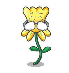 Crying daffodil flower mascot cartoon vector