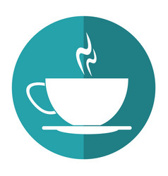 cup of coffee smoke hot shadow vector image