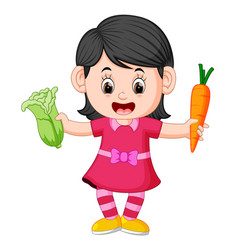 cute girl holding carrot and fresh green mustards vector image