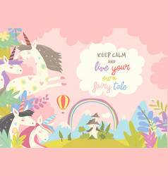Cute magic unicorns and castle vector