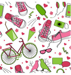 cute teenager pattern in green and brown palette vector image