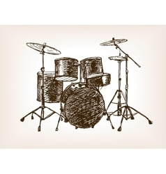 Drum set sketch style vector