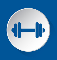 Dumbbell - simple blue icon on white button vector