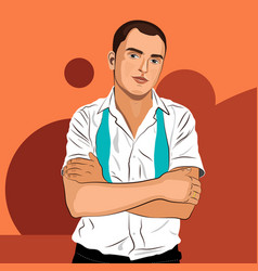 Elegant young man weared in white shirt and tie vector