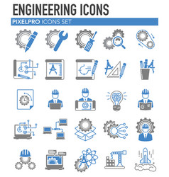 Engineering grey and blue icons set on white vector