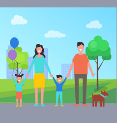 family having fun in city park vector image