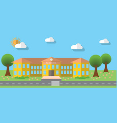 Flat design of school building in flat design vector