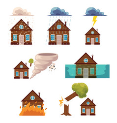 Flat house insurance concepts set vector