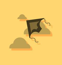 Flat icon design kids toy kite in sticker style vector