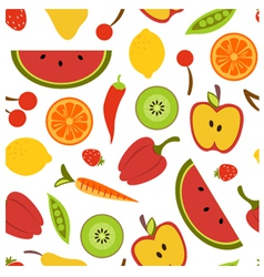 Fruit and vegetables seamless background vector