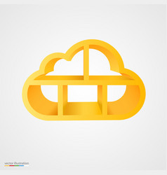 Golden cloud database shelf vector