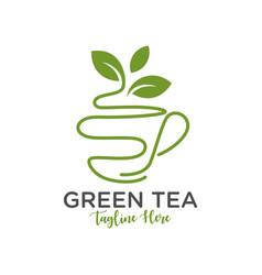 green tea drink inspiration logo design vector image