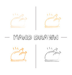 grilled whole chicken hand drawn icons set vector image