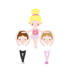 Group dancing ballet with professional uniform vector