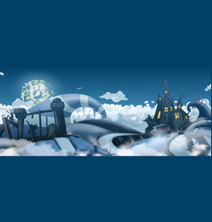 Halloween background cartoon landscape panorama vector