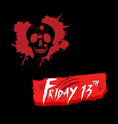 Halloween friday 13th with bloody skull vector