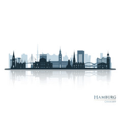 Hamburg skyline silhouette with reflection vector