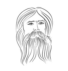 hand drawn portrait of bearded man vintage style vector image