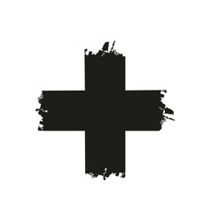 handdrawn christian cross symbol hand painted vector image