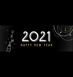 happy new year- 2021 banner with decoration vector image