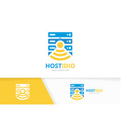 Host and wifi logo combination server and vector