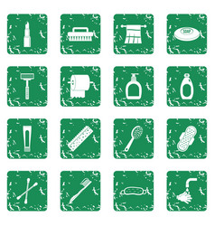 Hygiene tools icons set grunge vector