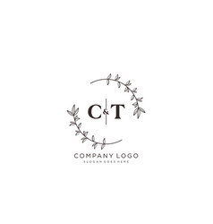 Initial ct letters beautiful floral feminine vector