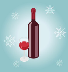 Isometric red wine bottle with glass in winter vector
