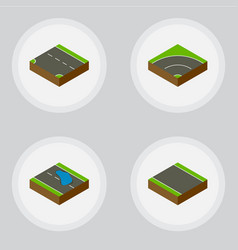 Isometric road set plash without strip vector