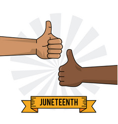 Juneteenth celebration hand black and white thumb vector