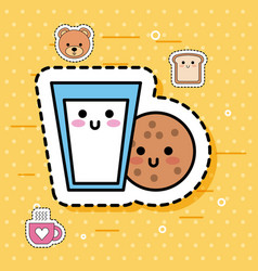 Kawaii cookie glass milk breakfast sweet fantasy vector