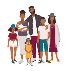 Large family portrait african mother father vector
