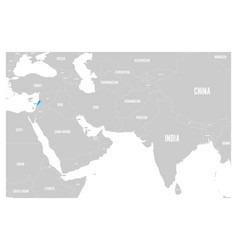 Lebanon blue marked in political map of south asia vector