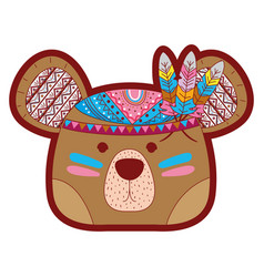 Line color cute bear head animal with feathers vector