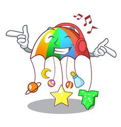 Listening music baby sleeping with cartoon hanging vector