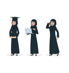 modern arab woman character muslim woman vector image
