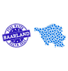 Mosaic map of saarland map with water drops and vector