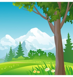 Mountain forest square background vector image