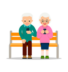 Old people on phones couple elderly pensioners vector