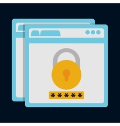 Padlock site cyber security system design vector