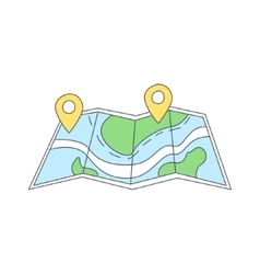 Paper Map With Destination Marked vector